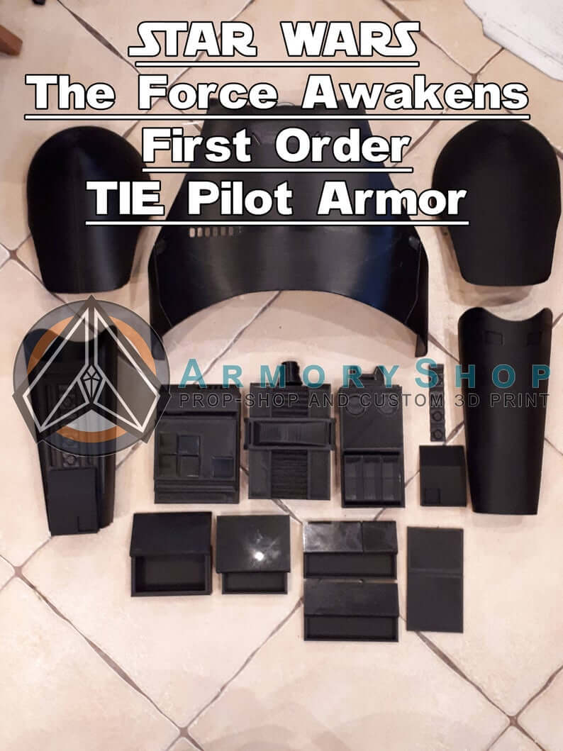 First Order TIE Pilot Armor RAW 3D Printed Star Wars Replica Prop